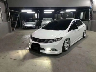 Ninth generation white Honda Civic Hellaflush Shared